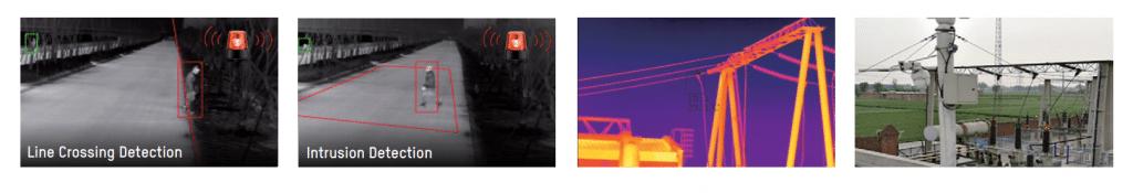 Cilvēks uz ielas nakts laikā, stabi, energostacija, termālās kameras uzņēmums