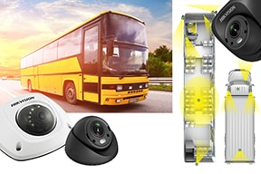 mobilās kameras, dzeltenais autobuss, kameru uzstādīšana transportlīdzeklī