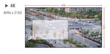 Attēls ar izmēriem un parametriem, uz kura ir attēlots liels krustojums ar automašīnām, cilvēkiem un ēkām.